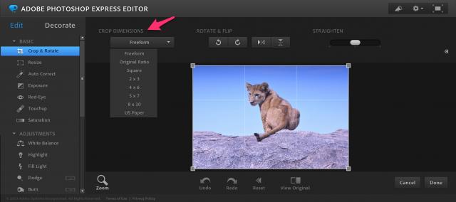Photoshop Express Editorの切り抜き&回転の加工画面