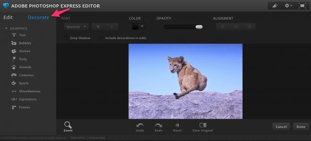 Adobe Photoshop Express Editorの加工画面トップ