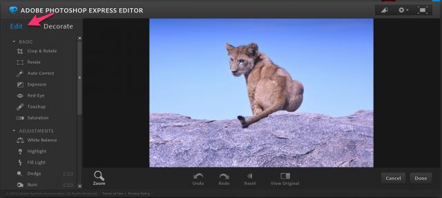 Photoshop Express Editorの加工画面トップ