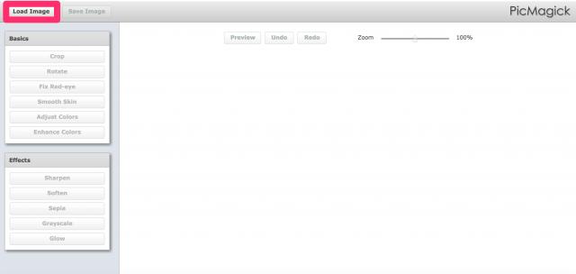 PicMagickの画像アップロード画面