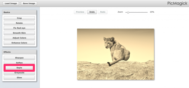 PicMagickのセピア加工画面