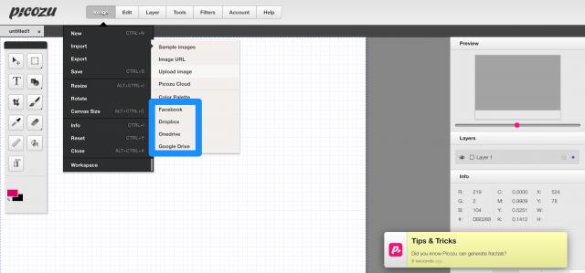 picozuの画像インポート画面