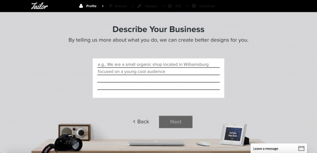 Tailor Brandsの仕事内容入力画面
