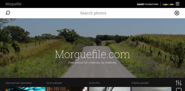 Morguefileのトップページ