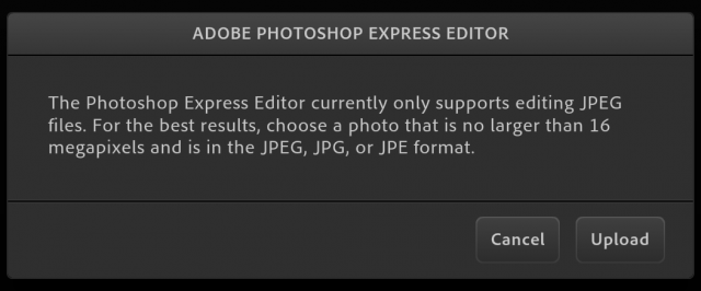 Photoshop Express Editorの画像アップロード画面