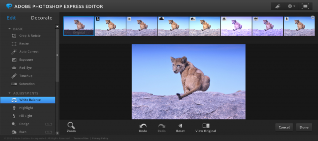 Photoshop Express Editorのホワイトバランスの加工画面