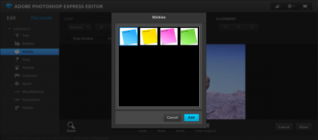 Photoshop Express Editorの付箋