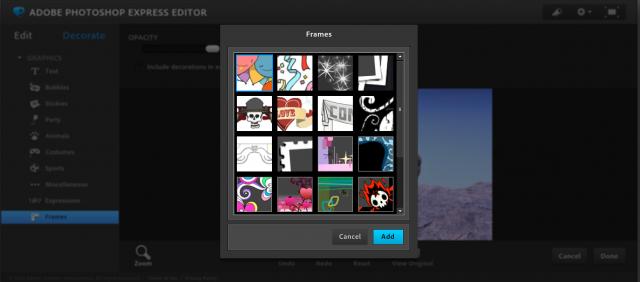 Photoshop Express Editorのフレーム