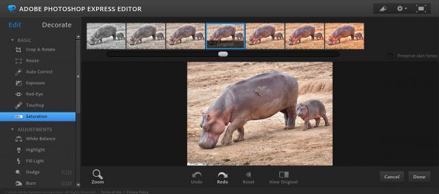 Photoshop Express Editorの彩度の加工画面