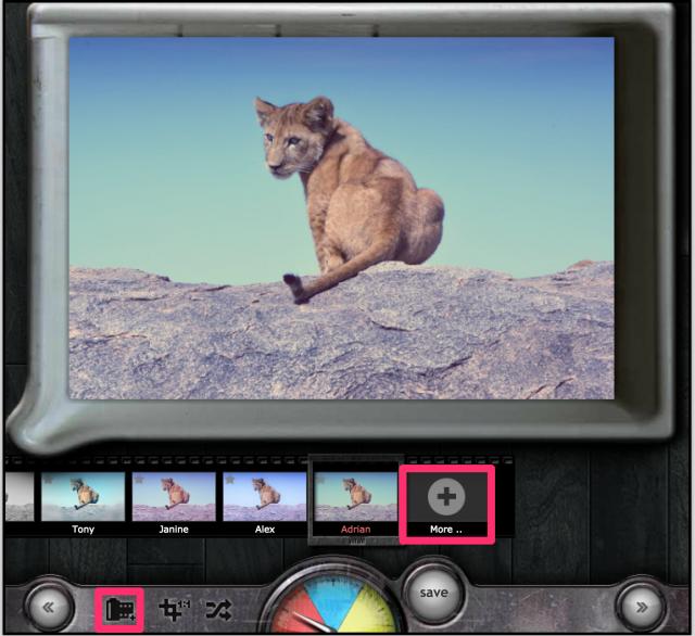 PIXLR o-maticのエフェクト追加画面