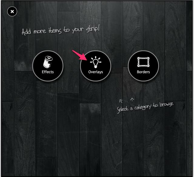PIXLR o-maticのOverlays追加画面