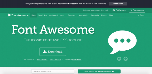 Font Awesomeのトップページ
