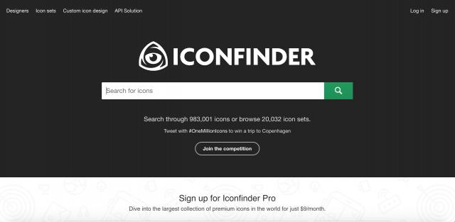 ICONFINDERのトップページ