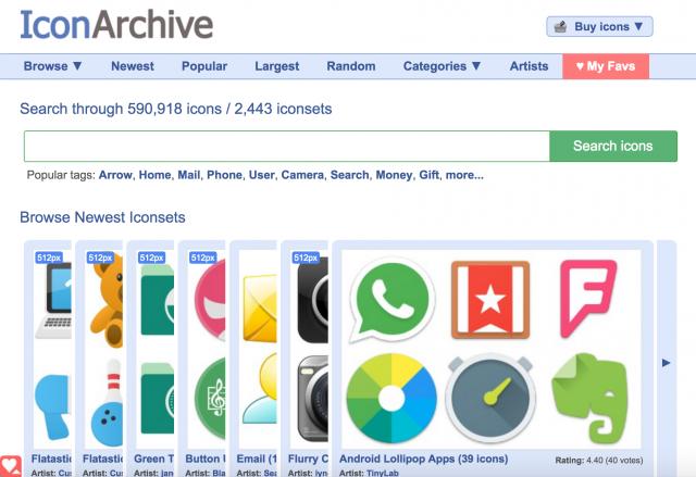 IconArchiveのトップページ