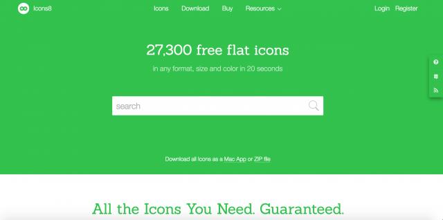 Icons8のトップページ