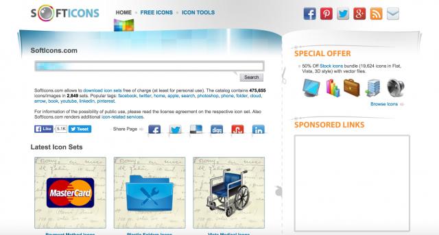 softicons.comのトップページ