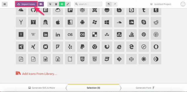 IcoMoon Appのアイコン一覧