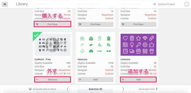 IcoMoon AppのライブラリのPurchase/Remove/Add