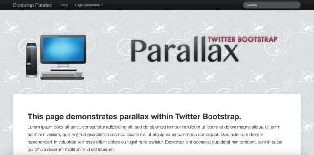 Bootstrap Parallaxのサイト