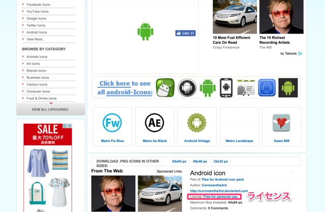 iconspediaのライセンス表記