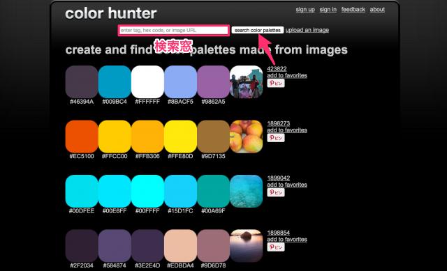 Color Hunterの検索窓