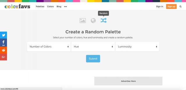 ランダムにカラーパレットを作成できる画面