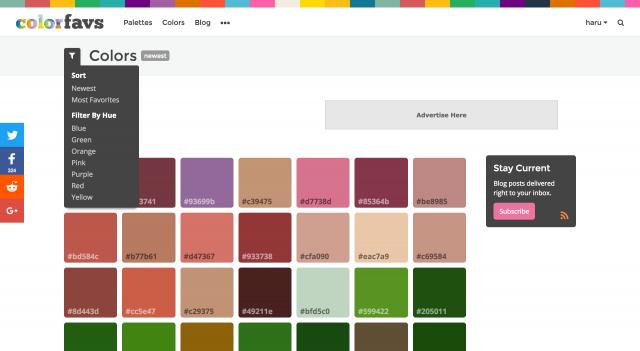 ColorFavsの色一覧