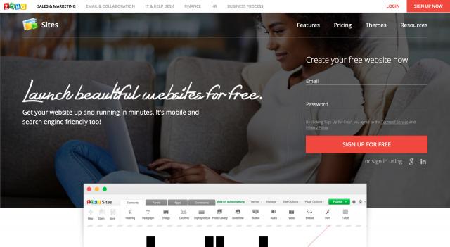 Zoho Sitesのホームページ