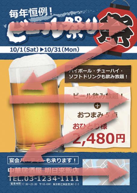 ビールのチラシとアイフロー